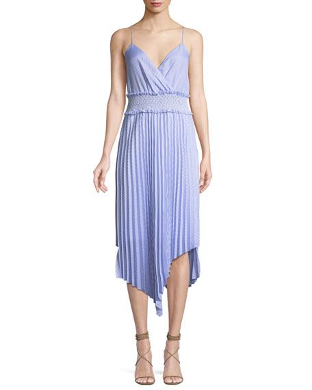 Saylor Kinsley Shirting Stripe Asymmetric Midi Dress