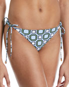 Geo-Print Tie-Side Swim Bikini Bottoms