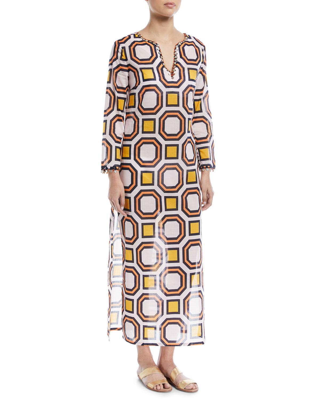 Tory Burch Embellished Maxi Caftan Coverup Dress
