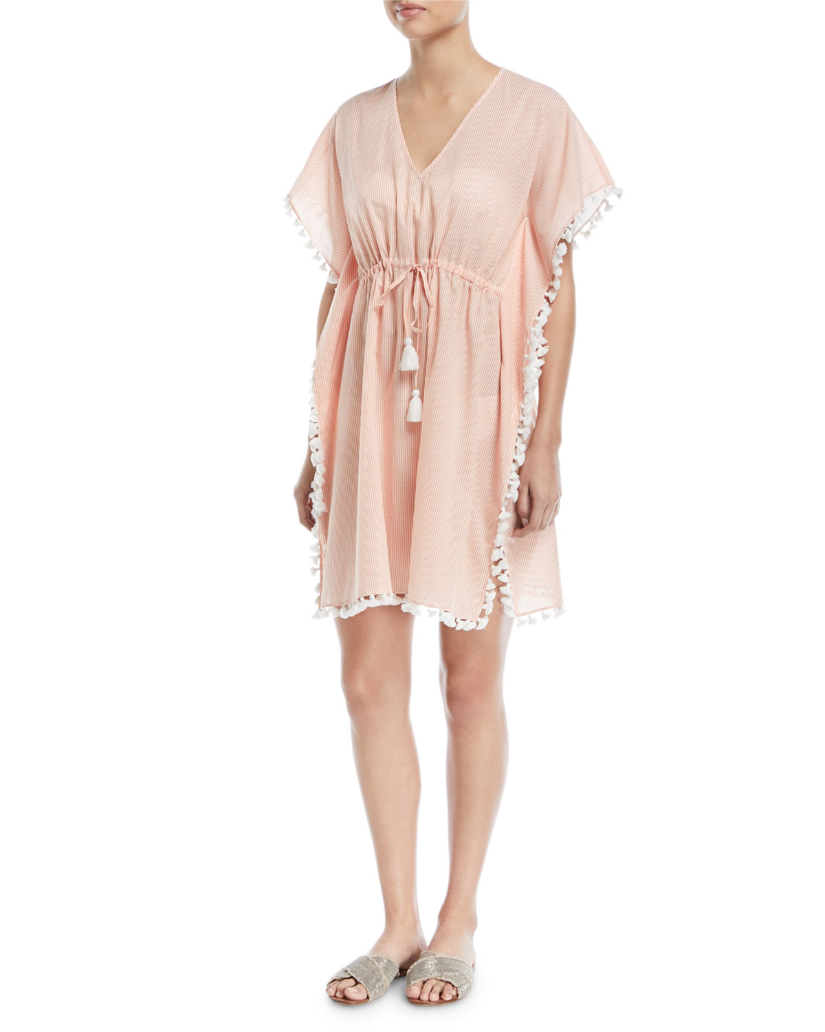 Ticking Stripe Caftan w/ Tassel Trim