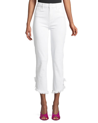 Hoxton High-Waist Straight-Leg Ankle Jeans with Fray Hem
