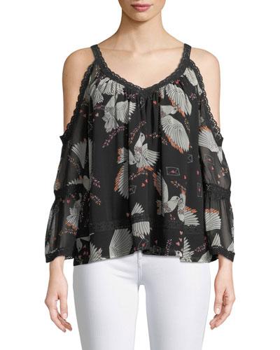 Deneuve Bird-Print Cold-Shoulder V-Neck Top w/ Crochet Lace