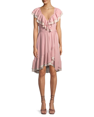 Sarah Ruffle Wrap Knee-Length Dress
