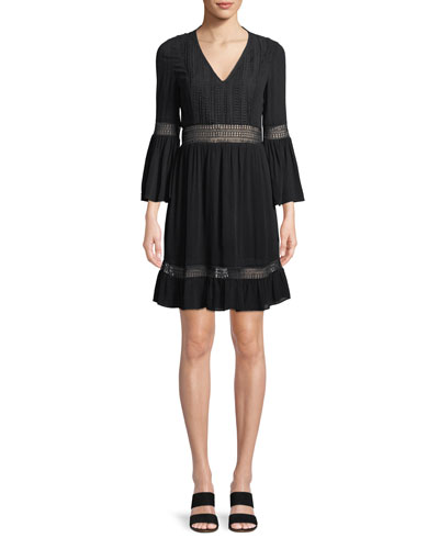 Merryl Bell-Sleeve Crochet Mini Dress