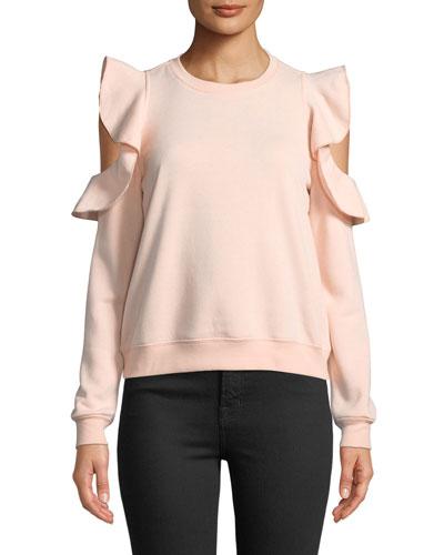 Gracie Crewneck Cold-Shoulder Cotton Sweatshirt