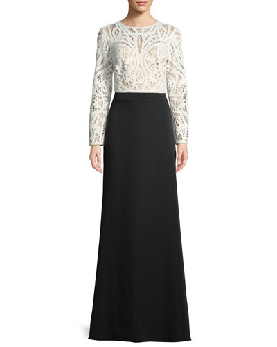 Crochet Lace Crepe Long-Sleeve Gown