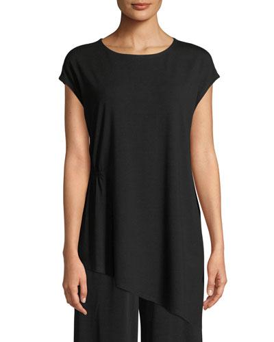Jewel-Neck Viscose-Jersey Top, Plus Size