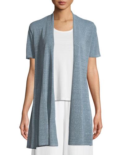 Organic Linen-Crepe Shimmer Long Cardigan, Plus Size