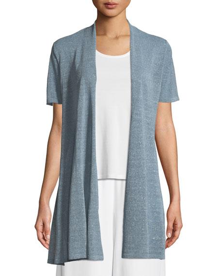 Eileen Fisher Organic Linen-Crepe Shimmer Long Cardigan