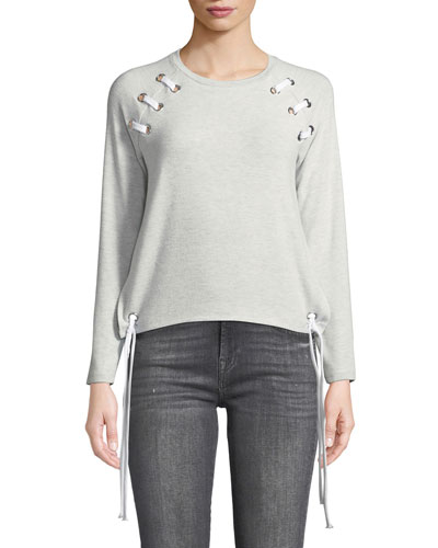 Kennedy Grommet Lace-Up Long-Sleeve Pullover