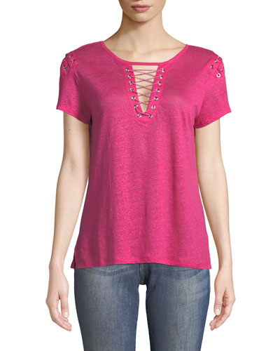 Hugo Lace-Up Linen Top
