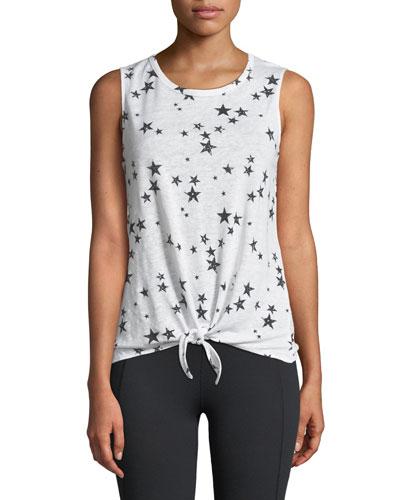 Makenna Star-Print Tie-Front Sleeveless Top