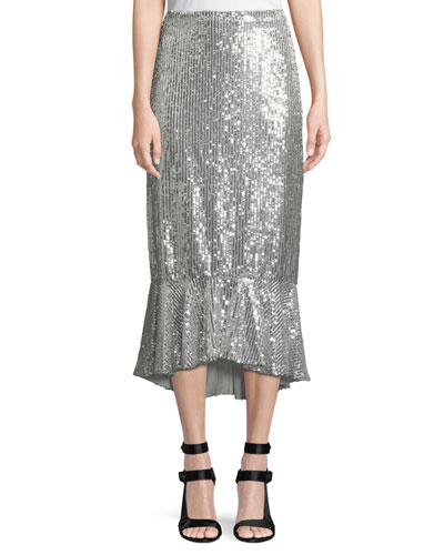 Kina Sequined Midi Pencil Skirt w/ Flounce Hem