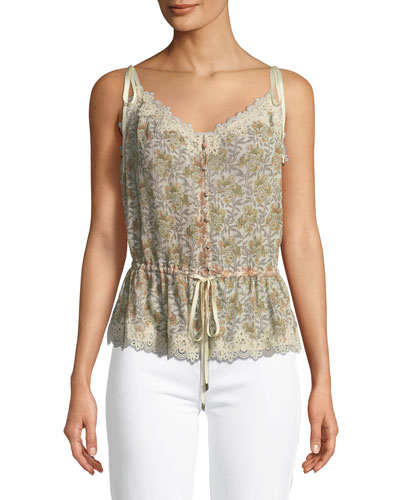 Louisa V-Neck Floral-Print Blouse with Crochet Trim