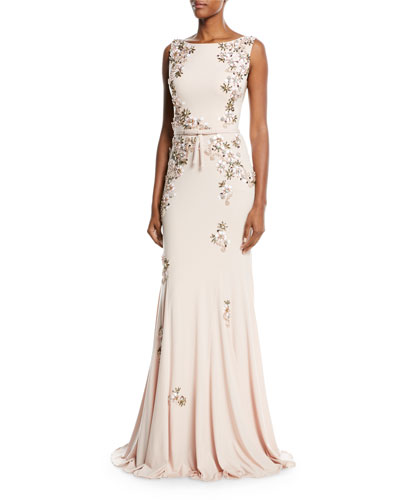 Floral Embellished Open-Back Gown