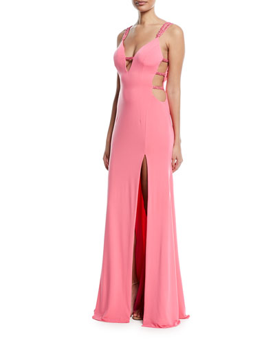 Strappy Plunging-Neck High-Slit Gown