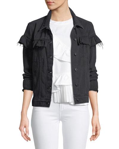 Heidi Button-Front Denim Jacket with Ruffled Trim