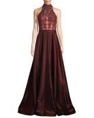Two-Tone Sleeveless Satin Ball Gown