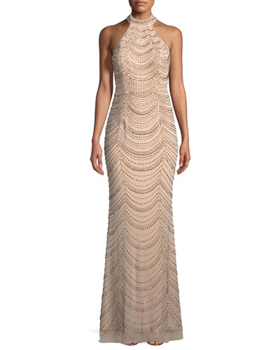 a2b3539389 Quick Look. La Femme · Allover Beaded Gown w  Open Back