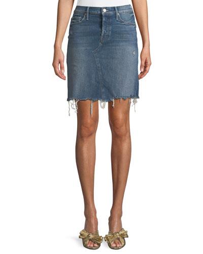 Tomcat Straight Denim Mini Skirt w/ Fray Hem