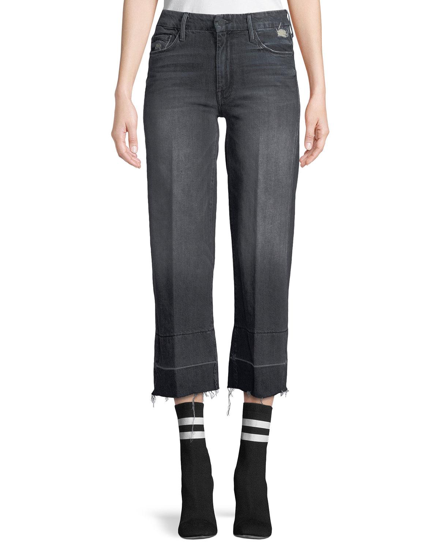 Roller Crop Straight-Leg Jeans with Undone Hem