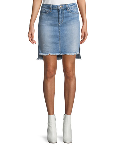 High-Low Denim Skirt