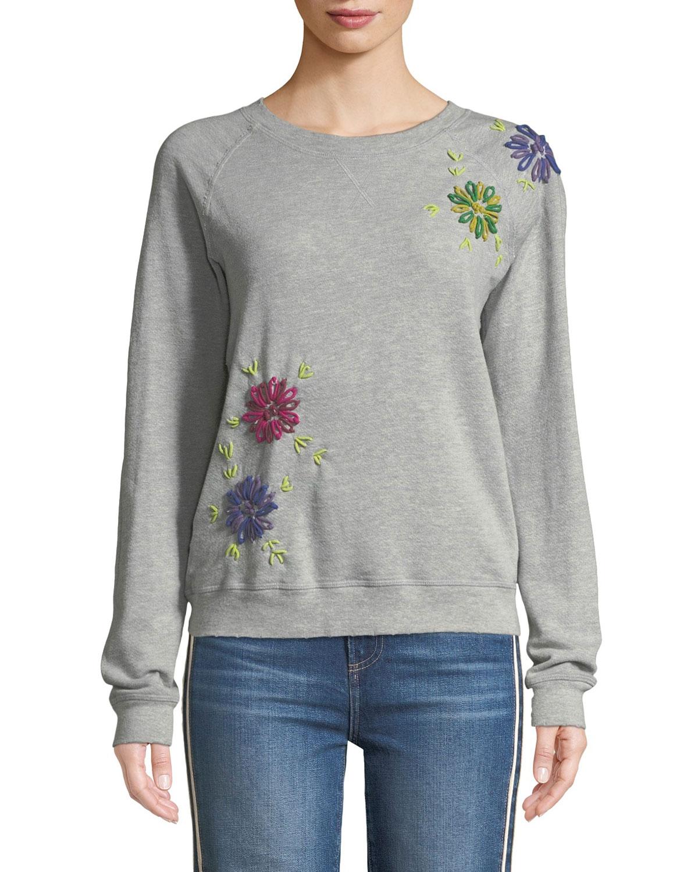 Floral Embroidered Crewneck Sweatshirt