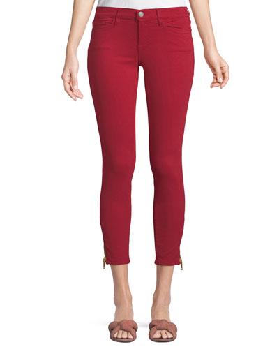 Mid-Rise Skinny-Leg Jeans w/ Side-Zip Hem