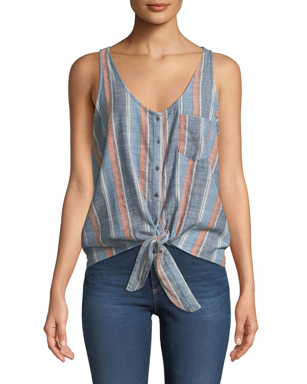 Ag  CYNTHIA STRIPED BUTTON-FRONT TANK