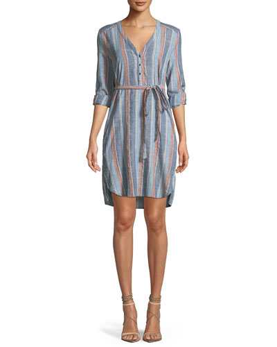 Anna Henley Belted Striped Cotton Dress