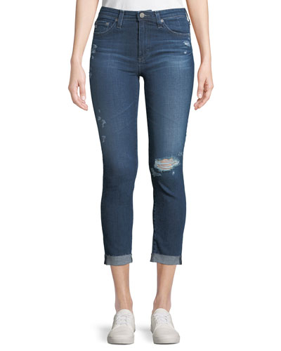 Prima Mid-Rise Skinny Crop Roll-Up Jeans