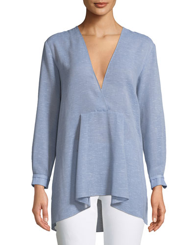 V-Neck Oversized Chambray Top