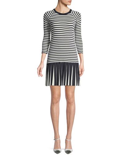 Dahlia Crewneck Striped Dress w/ Pleated Hem