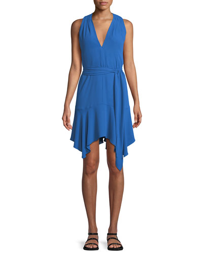 Sleeveless V-Neck Dress with Sash
