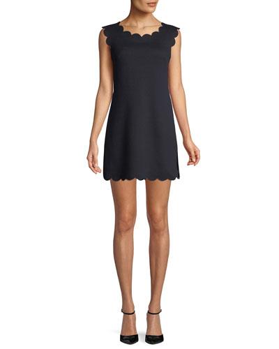 Petal Scalloped Sleeveless A-Line Dress