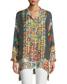Babette Graphic-Print Button-Front Blouse