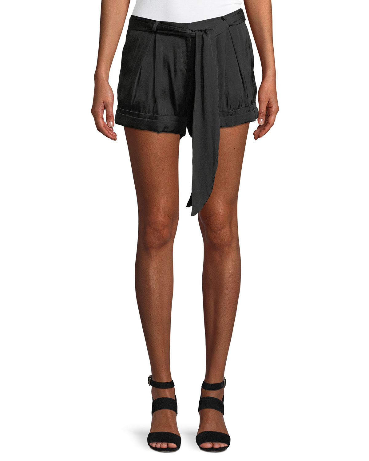 Solid Satin Tie-Waist Shorts