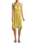 Halston Heritage Ruffle-Trim V-Neck Floral-Print Dress