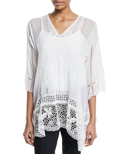 Elle Crochet-Trim Tunic, Plus Size
