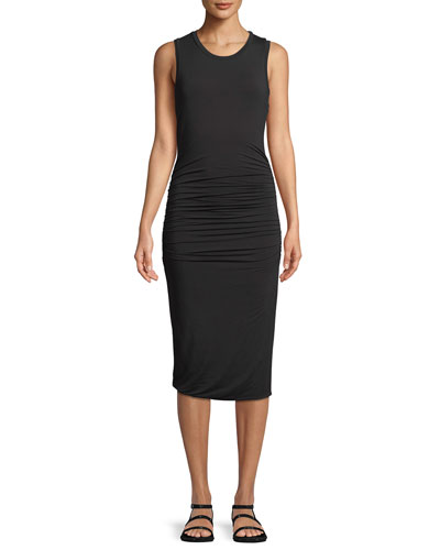 Ruched-Side Sleeveless Jersey Dress
