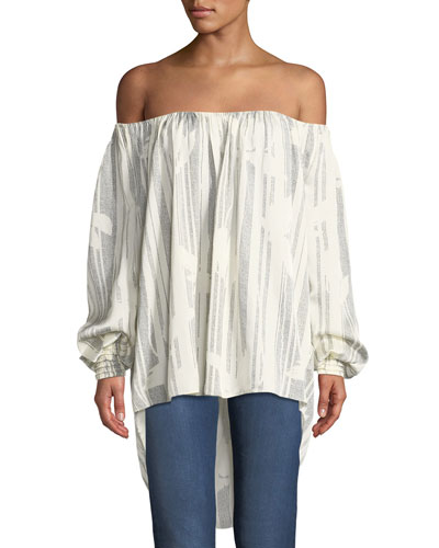 ac3795932ec35 Quick Look. Halston Heritage · Striped Off-the-Shoulder Top