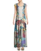 Patchwork Cotton Voile Maxi Dress