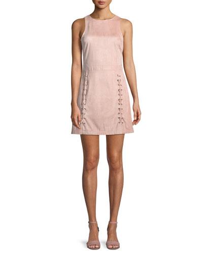 Daton Sleeveless Lace-Up A-Line Mini Dress