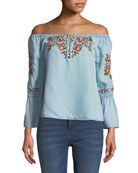 Adrien Off-the-Shoulder Floral-Embroidered Chambray Top