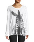 Long-Sleeve Crewneck Zebra-Print Cotton Tee
