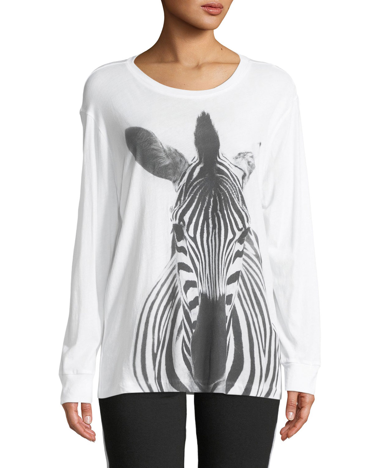 Long-Sleeve Crewneck Zebra-Print Cotton Tee