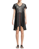 Surya Short-Sleeve Embroidered Tunic Dress, Plus Size