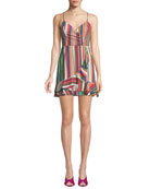 Jay Sweetheart Sleeveless Striped Linen Dress