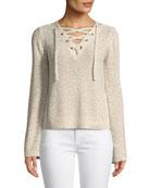 Calida Long-Sleeve Lace-Up Sweater