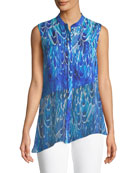 Shreeva Feather-Print Silk Blouse